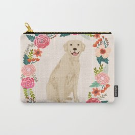 golden retriever dog floral wreath dog gifts pet portraits Carry-All Pouch