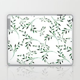 Hand painted green watercolor floral leaves Laptop & iPad Skin