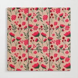 Pink Poppies Seamless Illustration Wood Wall Art
