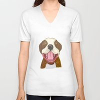 pit bull V-neck T-shirts featuring Pit Bull Pride by Kat Lyon