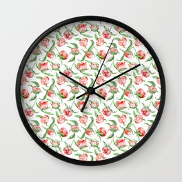 Hand painted white red green watercolor floral Wall Clock