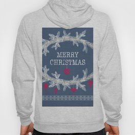 Merry christmas and happy new year greeting card wreath background Hoody