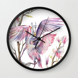 Two spoonbills on a Magnolia tree, Roseate Spoonbill, Magnolia Wall Clock