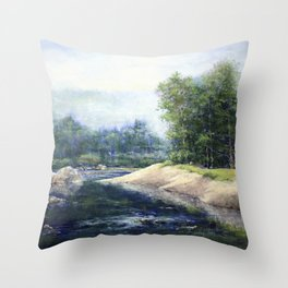 Morning Mist on Mad River Throw Pillow