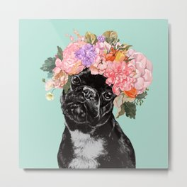 French Bulldog with Flowers Crown in Green Metal Print