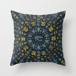 Egyptian Eye of Horus - in circular pattern Throw Pillow
