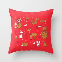 Winter Woodlands - Red Throw Pillow