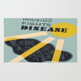 Vintage poster - Planned Housing Fights Disease Rug
