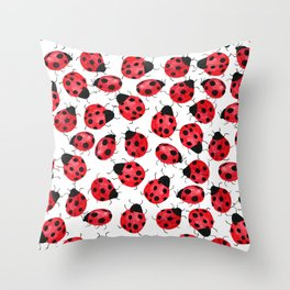 Watercolor Lady Bugs - Red Black Watercolor Insects Throw Pillow