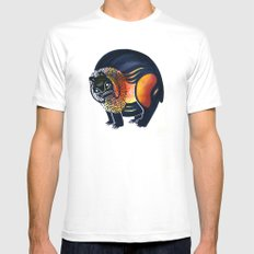 Angry Lion Mens Fitted Tee White MEDIUM