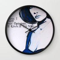 jenny liz rome Wall Clocks featuring Liz by Sandi Sharp