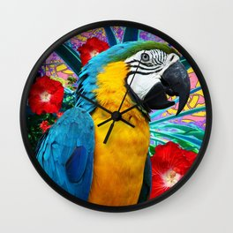 Tropical Blue Macaw Red Hibiscus Floral Art Wall Clock
