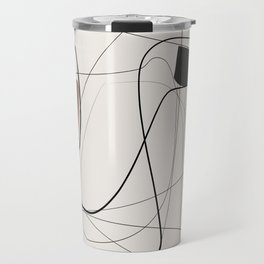 Minimal geometric abstraction, Abstract Line drawing, Pastel earth colors Travel Mug