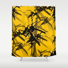 Bamboo Branches On A Yellow Background #decor #society6 #buyart #pivivikstrm Shower Curtain
