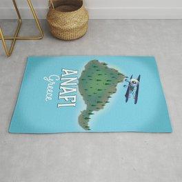 Anafi Greece travel map. Rug
