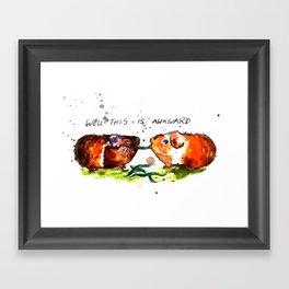 Guinea Pigs Feeling Awkward Framed Art Print