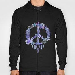 Purple Watercolor Peace Symbol Floral Dreamcatcher Hoody