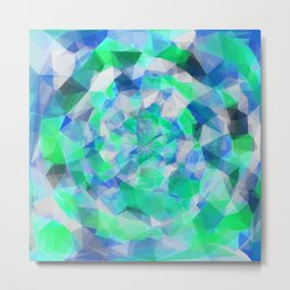 geometric polygon abstract pattern in blue and green Metal Print