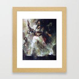 Blackbeard in Smoke and Flames Framed Art Print
