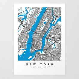 New York Map | White & Blue Colors Art Print