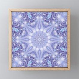 Light Blue, Lavender & White Floral Mandala Framed Mini Art Print