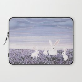 white rabbits and purple flowers Laptop Sleeve