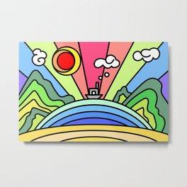 Abstract landscape painting. Rainbow, Sea, Cloud, Sun, beach, mountain, hill Metal Print
