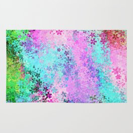 flower pattern abstract background in pink purple blue green Rug