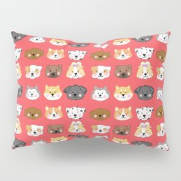 Nine Cute Dogs in Red Pillow Sham