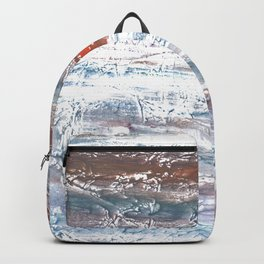 Orange blue stained watercolor pattern Backpack