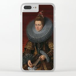 Tudor Lady in large Ruff collar Clear iPhone Case