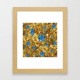 FACETED BLUE  TOPAZ GEMSTONES ON GOLD Framed Art Print