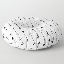 Black and White Arrows Pattern Floor Pillow