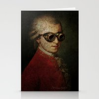 mozart Stationery Cards featuring Funny Steampunk Mozart by Paul Stickland for StrangeStore