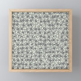 Giant money background 100 dollar bills / 3D render of thousands of 100 dollar bills Framed Mini Art Print
