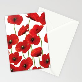 Poppies Flowers red field white background pattern Stationery Cards