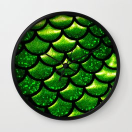Mermaid Scales - Emerald Green and Black Wall Clock