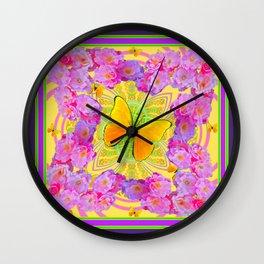 Decorative Pink Roses Golden Butterflies Purple Art Design Wall Clock