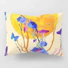 BLUE BUTTERFLIES MORNING GLORY  FULL MOON ART Pillow Sham