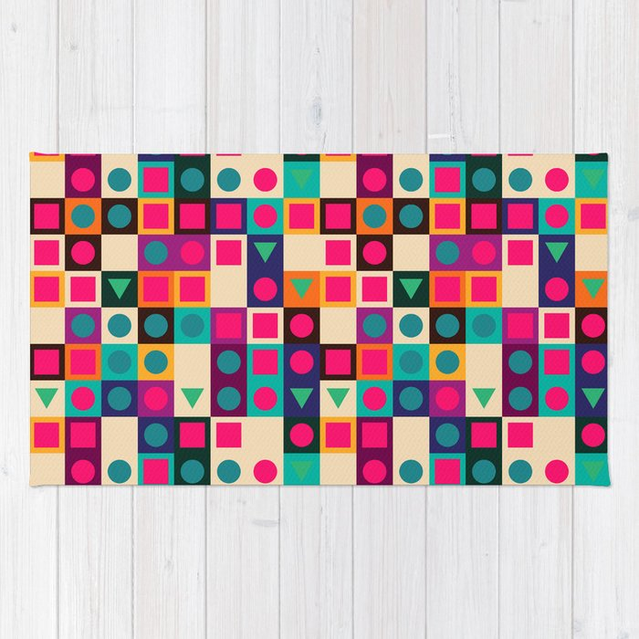 Geometric pattern with shapes Rug