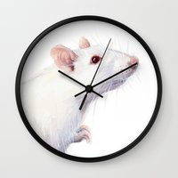 rat Wall Clocks featuring White Rat Watercolor Albino Rat by Olechka