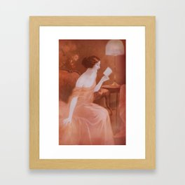 Women in red dress reading a letter  Framed Art Print