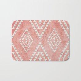 mint & coral tribal pattern (2) Bath Mat