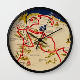 Vintage Omaha Beach D-Day Invasion Map (1945) Wall Clock
