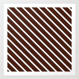 Cocoa Diagonal Stripes Art Print