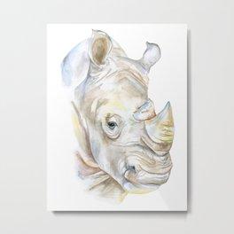 Rhino Watercolor Metal Print