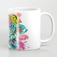 psychadelic Mugs featuring Tiger Splash by Geo Law