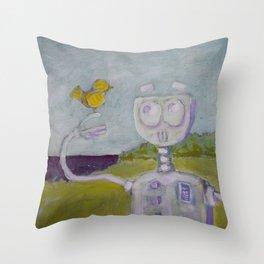 Robot Meets Bird Throw Pillow