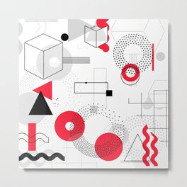Constructivism Red Geometric Lines Metal Print