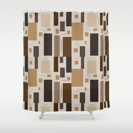 Retro Squares in Browns and Golds Shower Curtain